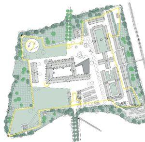 Plan der Um- und Anbaumaßnahmen für die Schlossinsel des Schloss Gottorf. Quelle: Schleswig-Holsteinisches Landesmuseum.